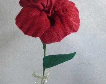 Red Felt Hibiscus - Artificial Flower on a Stem - Artificial Hibiscus - Fake Flower - Fake Hibiscus - Hawaii Flower - Felt Flower