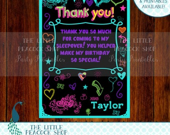 Tween Teen doodle Thank you card! PERSONALIZED note- Matching chalkboard invitation and more available!