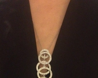 Vintage Sterling Silver Necklace with Multi-Hoop Diamond and Sterling Silver Pendant