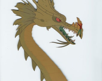 PAGEMASTER original production dragon cel with color copy background