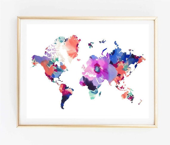 Map art floral world map painting map art print tumblr art like this item gumiabroncs Images