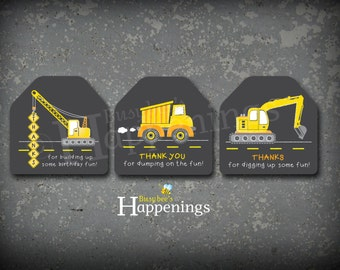Construction Favor Tags Construction Birthday Party Dump truck Favor Tag Chalkboard Digital File by Busy bee's Happenings INSTANT DOWNLOAD