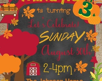 Fall Harvest/Pumpkin Patch Birthday Invitation