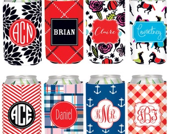 Monogrammed Can Cooler, Personalized Beverage Insulator