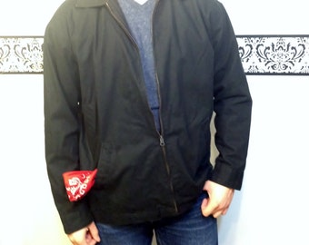 90's Does 50's Black Men's Greaser Zip Up Jacket by Steve and Barry's The Original Jimmy Dee, Size Medium / Large, Vintage Rockabilly Jacket