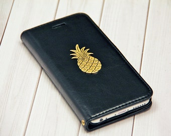 Pineapple Black iPhone 6 / iPhone 6s Wallet Case Leather 2 Slot Card Holder Handmade for Him or Her Wallet iPhone6 Cover Cell Phone Case