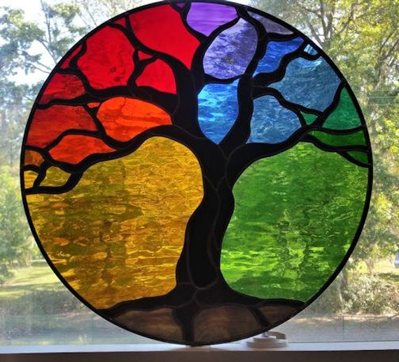 Stained Glass Window Patterns : Tree of life stained glass panel