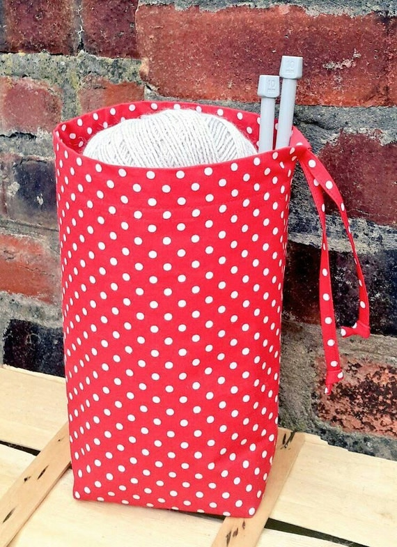 Crochet Project Bag : DRAWSTRING Knitting Bag Crochet Project Bag RED POLKA Storage ...