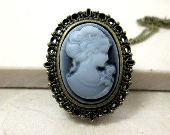 Victorian Lady Cameo Necklace Blue Cameo Watch Necklace Photo Locket Memorial Gift Sentimental Keepsake Necklace Vintage Antique Cameo Watch