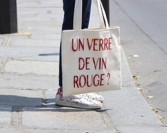 """Tote Bag """"A glass of red wine?"""""""