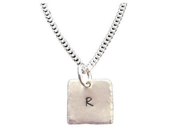 Hand stamped Square Single Hammered Initial Necklace -Sterling Silver -Mommy Gift