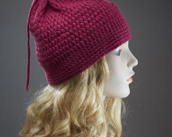 Pure Cashmere Hand Knit Crochet Hat  - Burgundy -  One of a Kind - No mass production