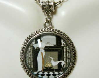 Art deco greyhound pendant with chain - DAP05-111