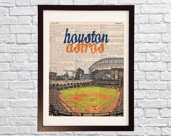 Houston Astros Dictionary Art Print - Minute Maid Park Art - Houston Texas Print - Print on Vintage Dictionary Paper - Baseball Art