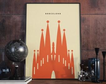 Barcelona Sagrada Familia, Print. Poster.