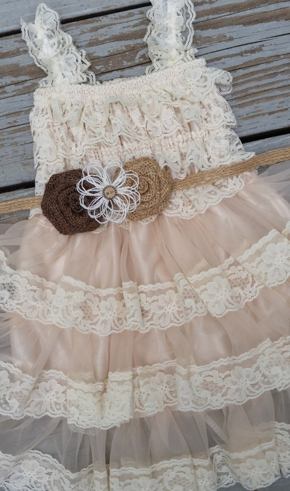 Rustic burlap lace flower girl dress country by for Country wedding flower girl dresses