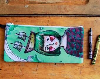 Fun colorfull , Sea dreamer boat lover, pencil case. Illustration by Kim Durocher.