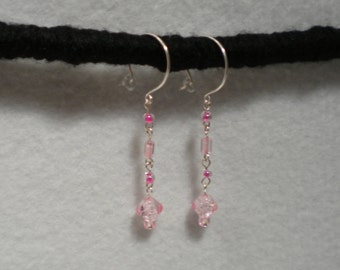 Pink rose drop earrings