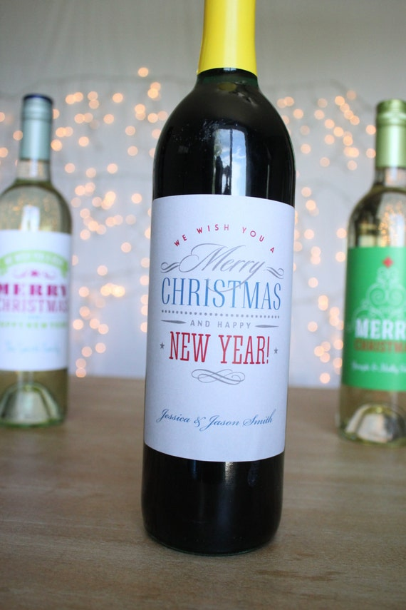 Custom Holiday Wine Labels Silver Merry Christmas Happy New Year - Custom vinyl stickers for wine glasses   for business