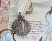 Antique French Religious St Benedict Medal ~ Vintage Silver Plate Christian Souvenir ~ Bracelet Charm ~ Rosary Charm ~ A24