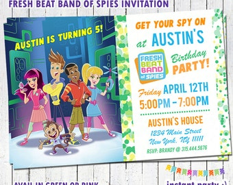 Fresh Beat Band of Spies Birthday Invitation - Personalized with your info - You Print