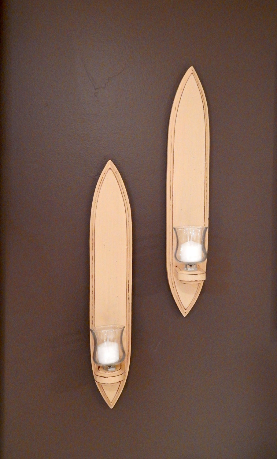 Wood And Glass Candle Wall Sconces : Wall Sconces wood glass votives candles by TheRepaintedHouse
