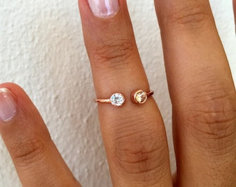 Dual Birthstone Ring with CZ / Stackable Rings / Gemstone Couples Ring / His and Her Birthstone Ring / Two Birthstone Ring