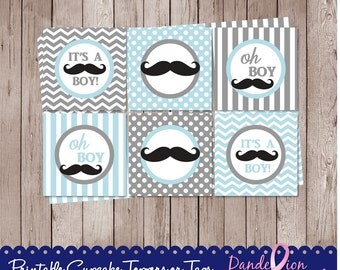 Baby Blue Gray It's A Boy Mustache Baby Boy Shower Digital Cupcake Toppers Favor Tags