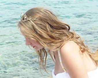 Mermaid - Magic Original Handmade Natural Gold/Brass Tiara with Amazonite