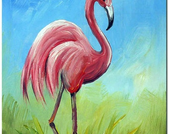 The Flamingo Oil Painting On Canvas - Hand Painted Modern Impressionist Bird Fine Art