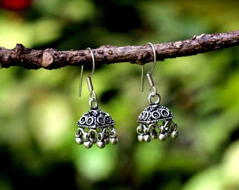 Silver Jhumka- Sterling Silver Oxidised Small Jhumka,Jumka, Dome Shaped Dangle Chandelier Earring, Oxidized antique finish
