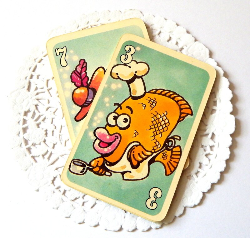 Vintage go fish game cards children 39 s games playing for How do you play go fish card game