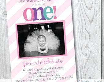 First Birthday Invitation, Pastel Stripes 1st Birthday Party Invitation - Printable (5x7)