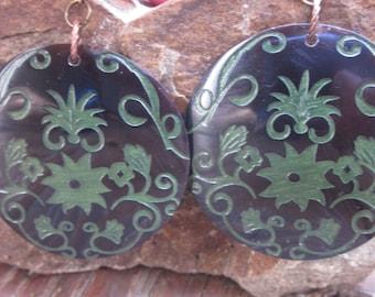 bohemian earrings boho earrings Large round earrings black pen shell earrings laser etched green flowers copper earrings