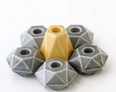 Modular candelabra, Set of 6 Geometric candle holders, 1 pentagon and 5 hexagon ceramic candlesticks, in Yellow / Grey