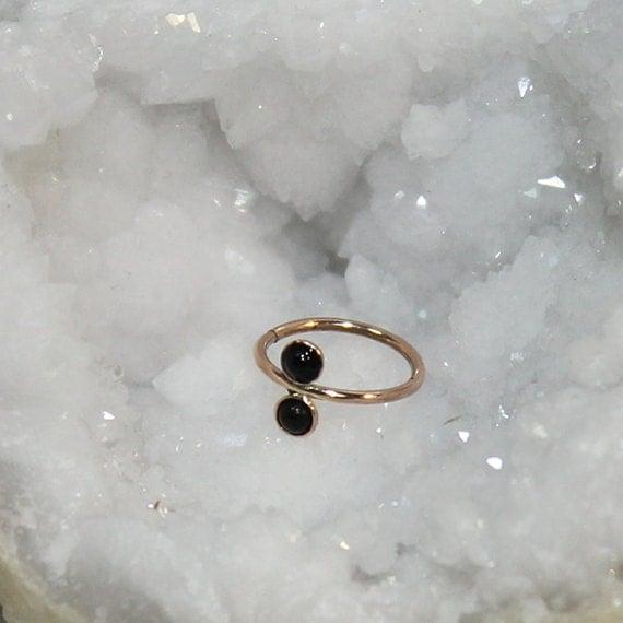 Gold Nose Ring - 2mm Onyx Nose Hoop - Rook Earring - Septum Piercing - Tragus Jewelry - Cartilage Earring Hoop - Daith Ring 18 gauge