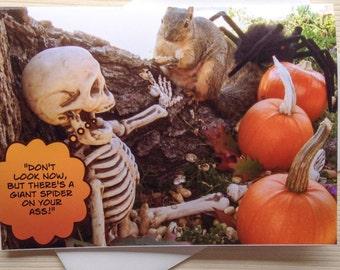 Funny Halloween Card - Funny Squirrel Card - Funny Skeleton Card - Fall Card