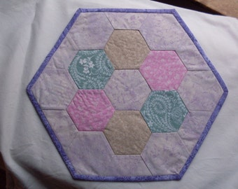 purple quilted table topper, little girl's table topper, quilted pastel table topper, hexagon table topper, quilted hexagon table topper