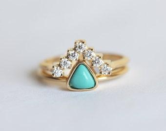 turquoise engagement ring trillion engagement ring diamond wedding set v diamond band with - Turquoise Wedding Ring