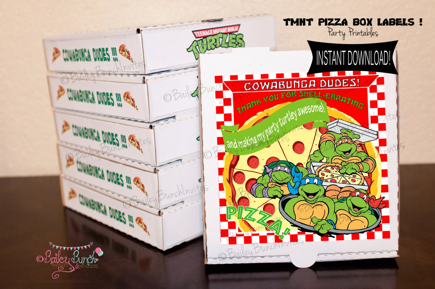 Box Label: Teenage Mutant Ninja Turtles Pizza Box Label By