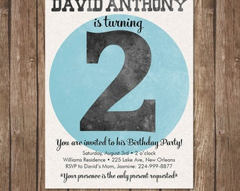 Boys 2nd BIRTHDAY INVITATION Printable Invite second Kid Party Turning two