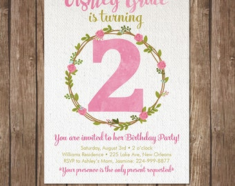 Girl SECOND BIRTHDAY INVITATION Printable Invite 2nd Party Turning Two  DiY