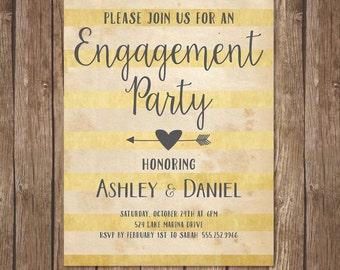 Rustic Engagement Party Invitation, Printable, Shabby Chic, Boho Neutral