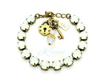 WHITE OPAL 8mm Crystal Chaton Bracelet Made With Swarovski Elements *Pick Your Finish *Karnas Design Studio *Free Shipping