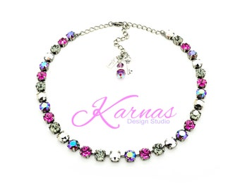 PINK CHROME 8mm Crystal Chaton Necklace Made With Swarovski Elements *Pick Your Finish *Karnas Design Studio *Free Shipping