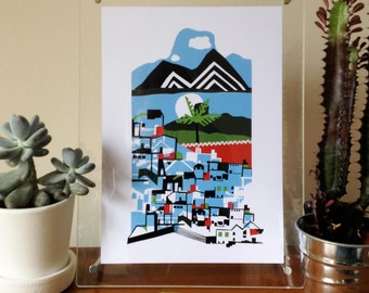 Indian Landscapes, mountains, palm tree and city - A3 digital print