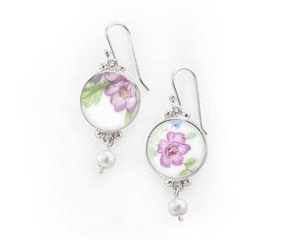 Wedding dangle earrings, Old Porcelain Jewel, China Anniversary gifts