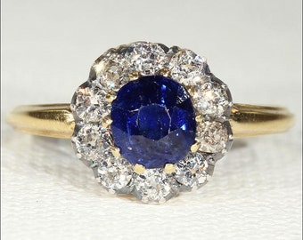 Antique Victorian Sapphire and Diamond Cluster Ring with Rich Blue Sapphire in 14k Gold