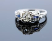 18K White Gold Half Carat Old Euro Carat Diamond Ring with Blue Sapphires