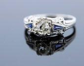 18K White Gold Half Carat Old Euro Carat Diamond Ring with Blue Sapphires